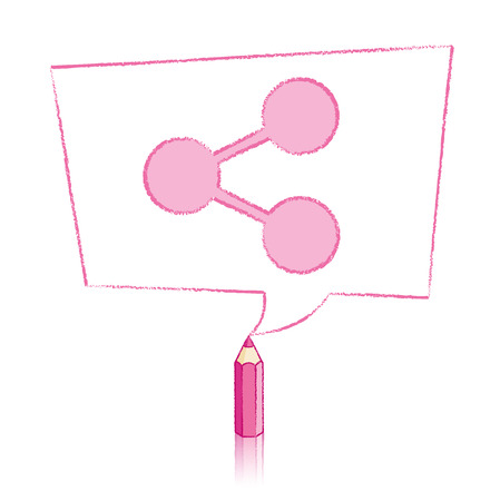 skewed: Pink Pencil with Reflection Drawing Digital Share Icon in Skewed Rectangular Speech Bubble on White Background