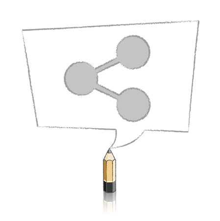 skewed: Wooden Lead Pencil with Reflection Drawing Digital Share Icon in Skewed Rectangular Speech Bubble on White Background
