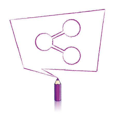 skewed: Purple Pencil with Reflection Drawing Digital Share Icon in Skewed Rectangular Speech Bubble on White Background