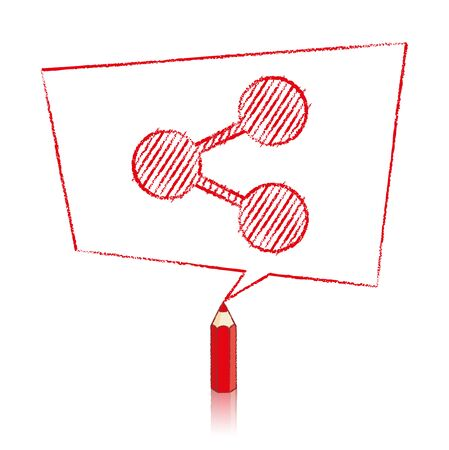 skewed: Red Pencil with Reflection Drawing Digital Share Icon in Skewed Rectangular Speech Bubble on White Background