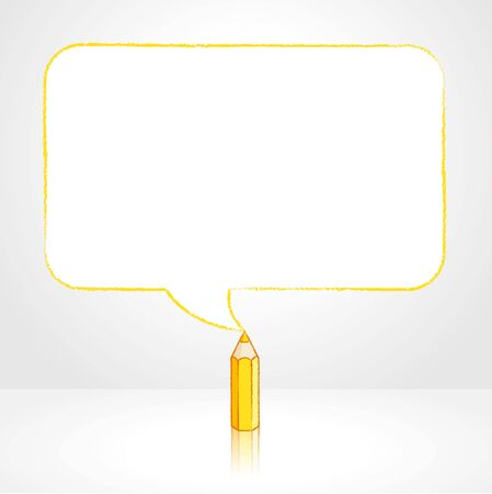 pale background: Yellow Pencil with Reflection Drawing Smooth Rectangular Shaped Speech Bubble on Pale Background