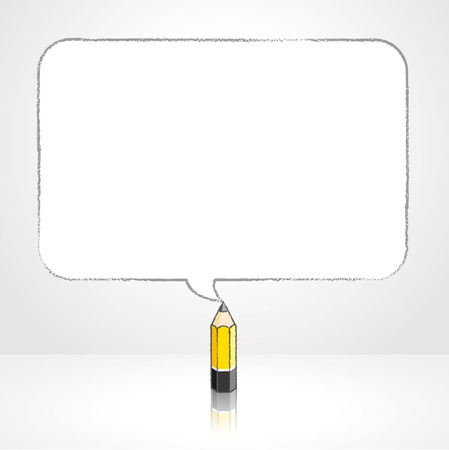 pale background: Yellow Lead Pencil with Reflection Drawing Smooth Rectangular Shaped Speech Bubble on Pale Background