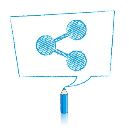 skewed: Blue Pencil with Reflection Drawing Digital Share Icon in Skewed Rectangular Speech Bubble on White Background