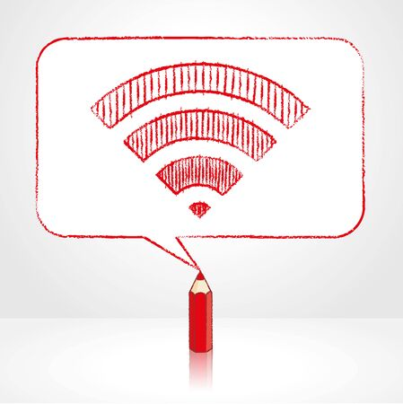 red pencil: Red Pencil with Reflection Drawing Digital WiFi Icon in Round Cornered Rectangular Speech Bubble on Pale Background