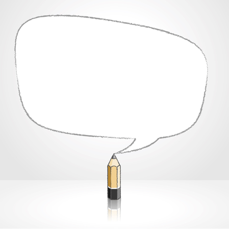 pale background: Wooden Lead Pencil with Reflection Drawing Smooth Irregular Shaped Speech Bubble on Pale Background Illustration