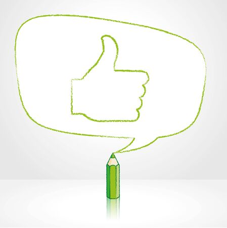 pale background: Green Pencil with Reflection Drawing Thumbs Up Symbol in irregular shaped Speech Bubble on Pale Background