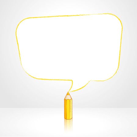 pale background: Yellow Pencil with Reflection Drawing Smooth Skewed Rectangular Shaped Speech Bubble on Pale Background