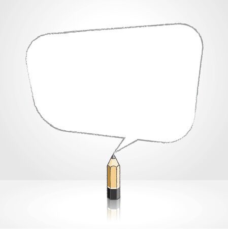 pale background: Wooden Lead Pencil with Reflection Drawing Smooth Skewed Rectangular Shaped Speech Bubble on Pale Background