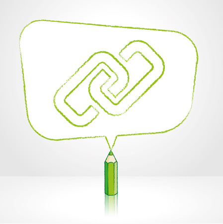 hyperlink: Green Pencil with Reflection Drawing Digital Media Link Icon in Rounded Skewed Rectangular Shaped Speech Bubble on Pale Background