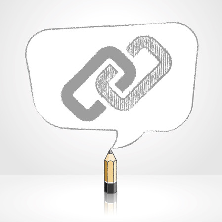 pale background: Wooden Lead Pencil with Reflection Drawing Digital Media Link Icon in Rounded Skewed Rectangular Shaped Speech Bubble on Pale Background Illustration