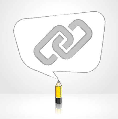 skewed: Yellow Lead Pencil with Reflection Drawing Digital Media Link Icon in Rounded Skewed Rectangular Shaped Speech Bubble on Pale Background