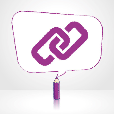 pale background: Purple Pencil with Reflection Drawing Digital Media Link Icon in Rounded Skewed Rectangular Shaped Speech Bubble on Pale Background Illustration