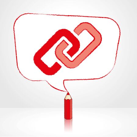 feedback link: Red Pencil with Reflection Drawing Digital Media Link Icon in Rounded Skewed Rectangular Shaped Speech Bubble on Pale Background Illustration