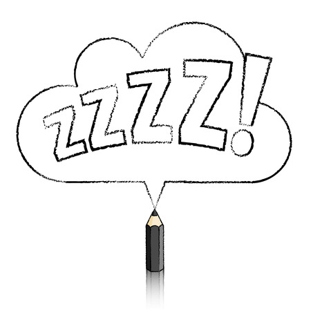 daydream: Black Pencil with Reflection Drawing Snoring Zzzz Cloud Shaped Speech Bubble on White Background