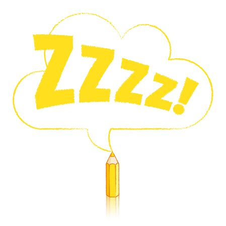snore: Yellow Pencil with Reflection Drawing Snoring Zzzz Cloud Shaped Speech Bubble on White Background Illustration