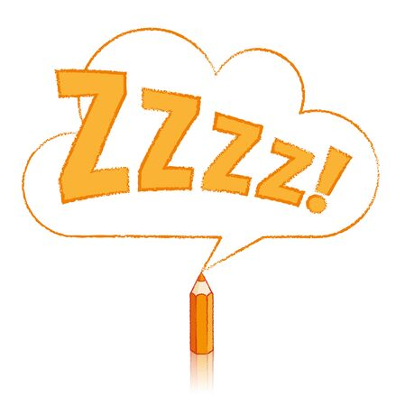 snoring: Orange Pencil with Reflection Drawing Snoring Zzzz Cloud Shaped Speech Bubble on White Background Illustration