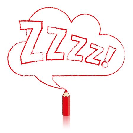 snore: Red Pencil with Reflection Drawing Snoring Zzzz Cloud Shaped Speech Bubble on White Background Illustration