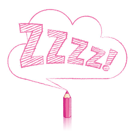 snore: Pink Pencil with Reflection Drawing Snoring Zzzz Cloud Shaped Speech Bubble on White Background