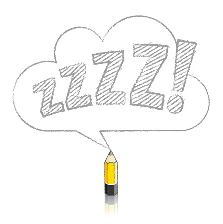 snore: Wooden Yellow Lead Pencil with Reflection Drawing Snoring Zzzz Cloud Shaped Speech Bubble on White Background