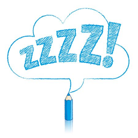 snore: Blue Pencil with Reflection Drawing Snoring Zzzz Cloud Shaped Speech Bubble on White Background