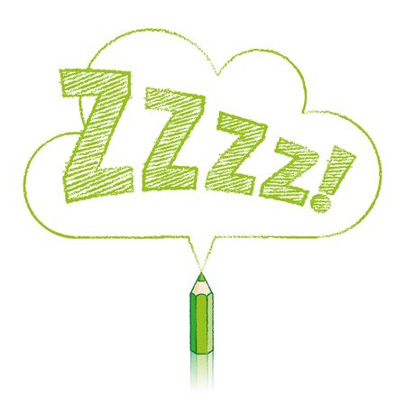 snore: Green Pencil with Reflection Drawing Snoring Zzzz Cloud Shaped Speech Bubble on White Background