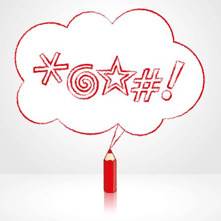 red pencil: Red Pencil with Reflection Drawing Swearing Icons in Fluffy Cloud Shaped Speech Bubble on Grey Background