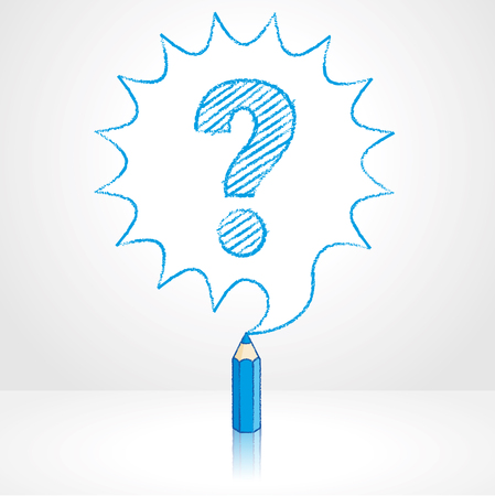 Blue Pencil with Reflection Drawing Question Mark in Rounded Starburst Speech Bubble Grey Background