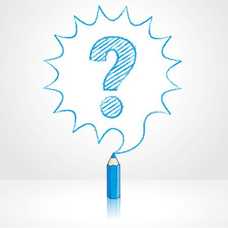 punto di domanda: Matita blu con la riflessione Disegno interrogativo in arrotondato Starburst Speech Bubble sfondo grigio