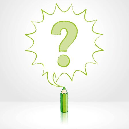 enquire: Green Pencil with Reflection Drawing Question Mark in Starburst Speech Bubble Grey Background