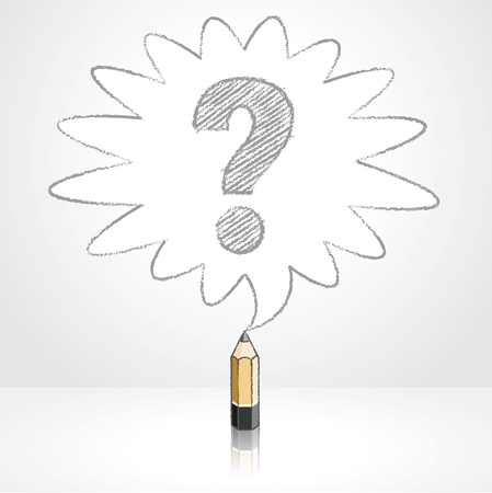 enquire: Wooden Lead Pencil with Reflection Drawing Question Mark in Rounded Starburst Speech Bubble Grey Background Illustration