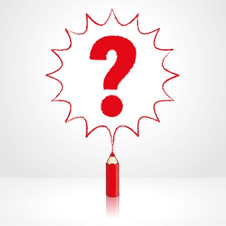 enquire: Red Pencil with Reflection Drawing Question Mark in Starburst Speech Bubble Grey Background