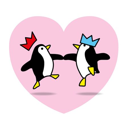 paper hats: Two Happy Santa Penguins with Paper Hats Dancing with Pink Heart on White Background