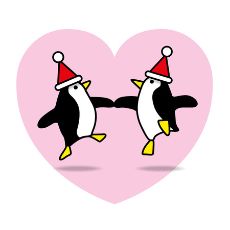 mates: Two Happy Santa Penguins Dancing with Pink Heart on White Background Illustration