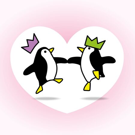 webbed feet: Two Happy Penguins with Paper Hats Dancing with White Heart on Pale Pink Background