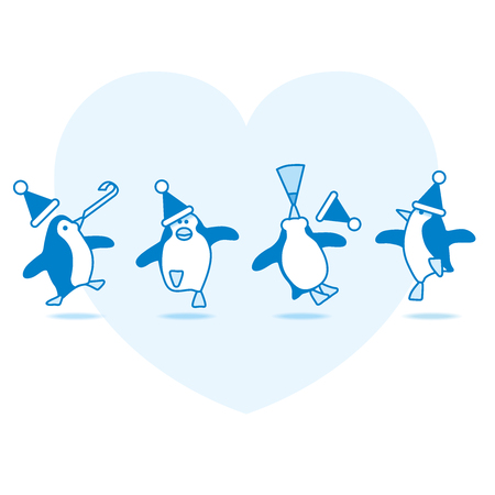 webbed feet: Four Happy Blue Penguins Dancing at a Party with Pale Blue Heart on White Background