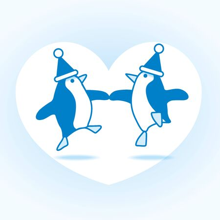 webbed: Two Happy Blue Santa Penguins Dancing with White Heart on Pale Blue Background