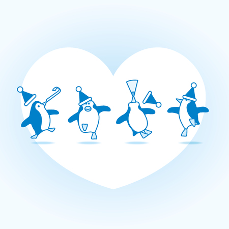 Four Happy Blue Penguins Dancing at a Party with White Heart on Pale Blue Background