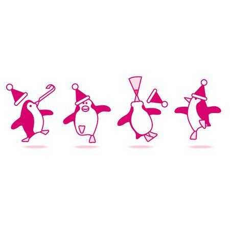 webbed feet: Four Happy Pink Penguins wearing Santa Hats Dancing at fun Party