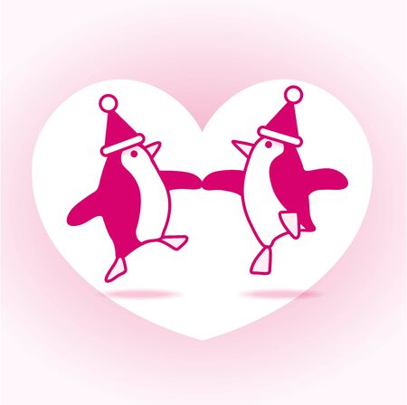 webbed: Two Pink Happy Santa Penguins Dancing with White Heart on Pale Pink Background Illustration