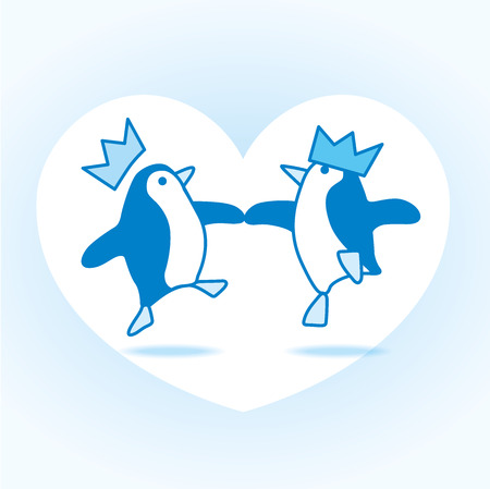 webbed: Two Happy Blue Penguins wearing Party Hats Dancing on White Heart over Pale Blue Background