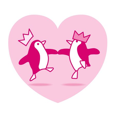webbed feet: Two Happy Pink Penguins with Paper Hats Dancing with Pink Heart on White Background