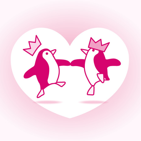 jive: Two Happy Pink Penguins with Paper Hats Dancing with White Heart on Pale Pink Background