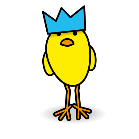 gazing: Single Cute yellow Staring Chick wearing Blue Party Hat Staring towards camera on White Background