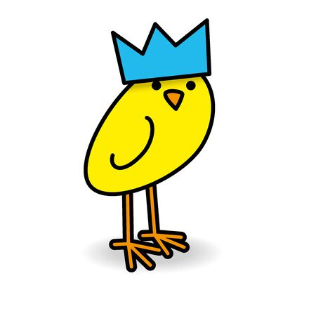Single Cute Yellow Smiling Chick wearing Blue Party Hat Staring towards camera on White Background Illustration