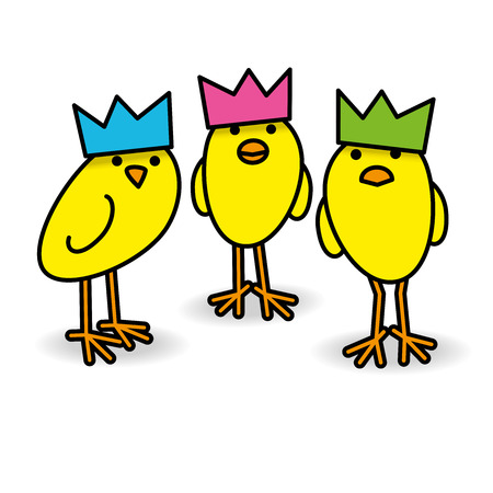 Three Cool Yellow Chicks wearing Party Hats Staring towards camera on White Background