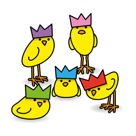 gazing: Five Cool Yellow Chicks wearing Party Hats Staring towards camera on White Background