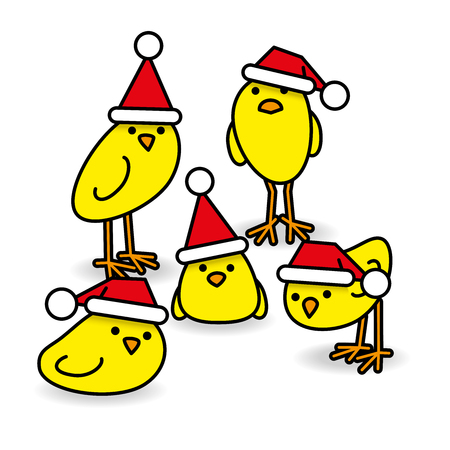 gazing: Five Cute Yellow Chicks wearing Santa Hats Staring towards camera on White Background