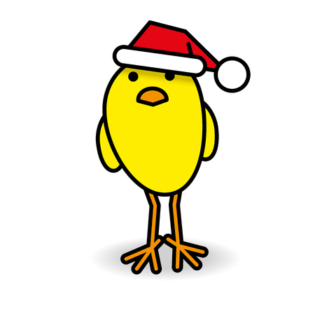 gazing: Single Yellow Chick wearing Red Santa Hat Staring towards camera on White Background Illustration