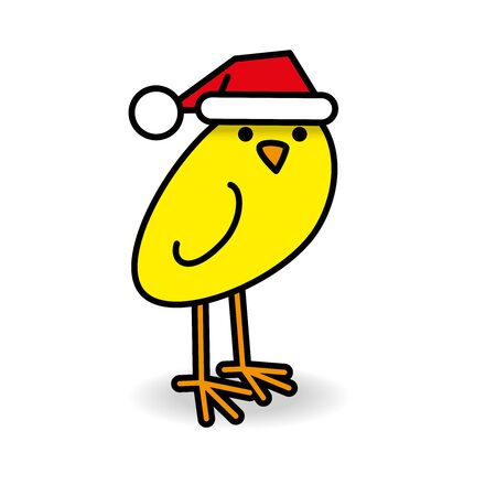 Single Staring Yellow Chick wearing Red Santa Hat turning head towards camera on White Background Illustration