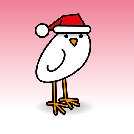 Single Staring White Chick wearing Red Santa Hat turning head towards camera on Pink Background Illustration